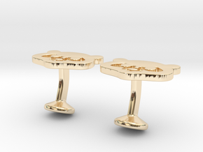 Chicago Cubs Cufflinks in 14K Yellow Gold