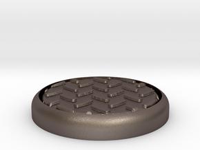 "Diamond 1"" Circular Miniature Base Plate in Polished Bronzed-Silver Steel"