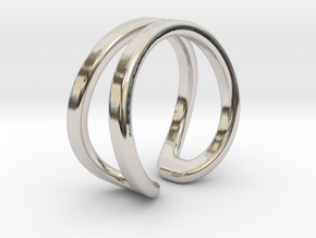 Double ring in Rhodium Plated Brass