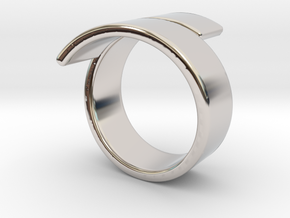 Band spiraled ring in Rhodium Plated Brass