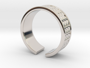 Knitted open ring in Rhodium Plated Brass