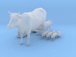 HO Scale Farm Animals in Smooth Fine Detail Plastic