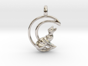 Moon Cat Pendant in Platinum