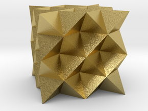 64 sided tetrahedron grid in Natural Brass