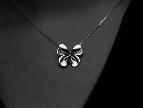 LuckyCloverButterfly in Polished Silver