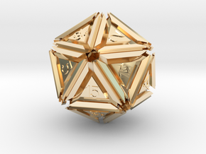 Dice: D20 edition 5 in 14k Gold Plated Brass