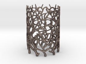 Coraline Tealight in Metal or Plastic in Polished Bronzed Silver Steel