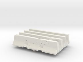 Jersey barrier (x4) 1/87 in White Natural Versatile Plastic