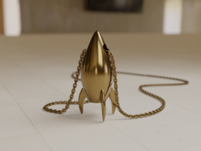 Rocket pendant in Polished Brass