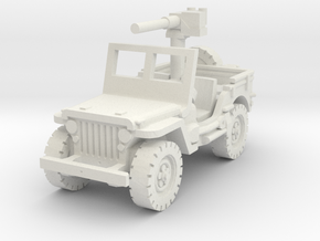Jeep Willys 50 cal (window up) 1/87 in White Natural Versatile Plastic