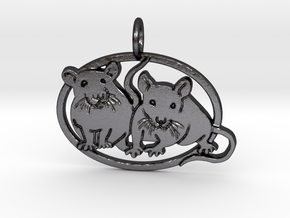 Double rat pendant oval cameo in Polished and Bronzed Black Steel