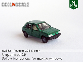 Peugeot 205 5-Türer (N 1:160) in Smooth Fine Detail Plastic