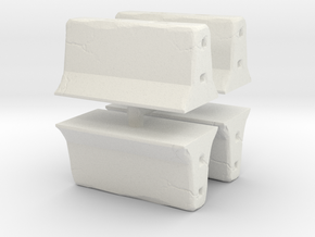 Concrete barrier (4 pieces) 1/87 in White Natural Versatile Plastic