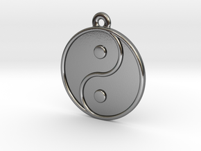 Engraveable Chinese Ying Yang Pendant  ~mk 2~ in Polished Silver