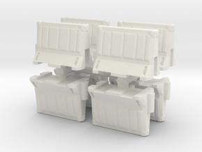 Interlocking traffic barrier (x8) 1/87 in White Natural Versatile Plastic