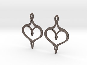 :Perfect Valentine: Earrings in Polished Bronzed Silver Steel