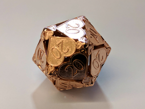 D20 Custom - Hearts (All 20s) in 14k Rose Gold Plated Brass
