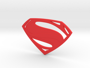 Man Of Steel Emblem - With Pegs in Red Processed Versatile Plastic