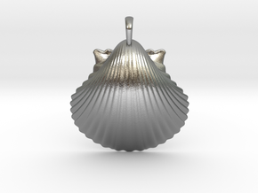 Scallop Shell in Natural Silver