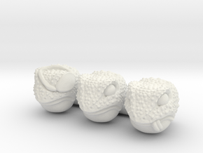 Frogs of War Heads (Multisize) in White Natural Versatile Plastic: Extra Small