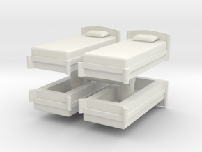 Single Bed (x4) 1/87 in White Natural Versatile Plastic