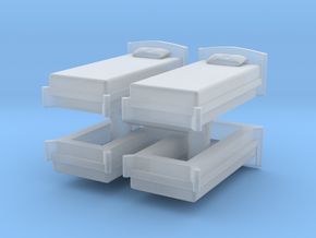 Single Bed (x4) 1/56 in Smooth Fine Detail Plastic