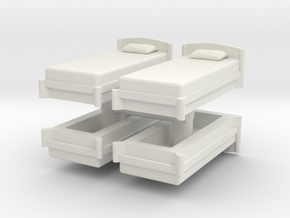Single Bed (x4) 1/24 in White Natural Versatile Plastic