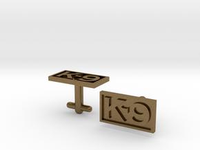 K-9 Cufflinks Silver, Brass, or Gold in Natural Bronze
