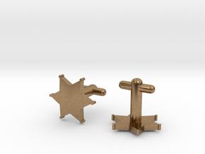 Sheriff's Star Cufflinks (2) Silver,Brass,or Gold in Natural Brass
