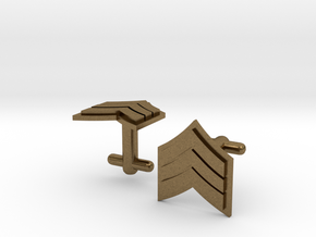 Sergeant Cufflinks - Silver,Brass,Gold in Natural Bronze