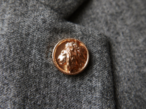Lion Head Lapel Pin No.2  in Natural Bronze