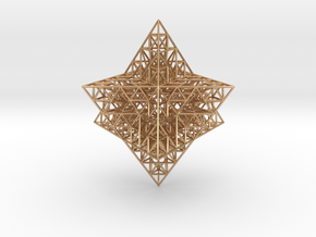 Sierpinski Merkaba Prism in Polished Bronze