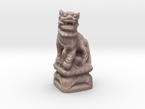 Chinese Guardian Lion in Natural Full Color Sandstone: Small
