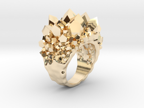 Double Crystal Ring Size 8 in 14K Yellow Gold