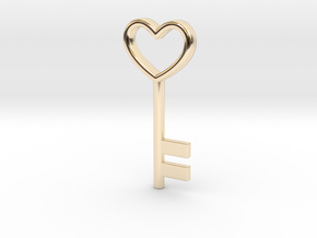 Cute Cosplay Charm - Heart Key in 14k Gold Plated Brass