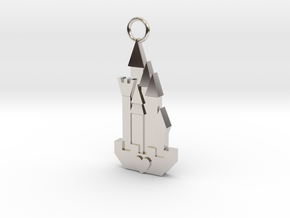 Cute Cosplay Charm - Fairytale Castle in Rhodium Plated Brass