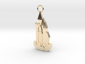 Cute Cosplay Charm - Fairytale Castle in 14k Gold Plated Brass