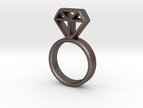 Diamond Ring in Polished Bronzed-Silver Steel