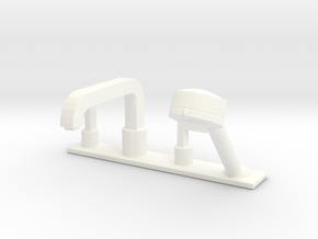 Bathtub tap with shower head, 1:12 and 1:24 in White Processed Versatile Plastic: 1:12