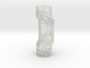 Wire Cylinder Zig-Zag with Double Diagonal Shift  in White Natural Versatile Plastic