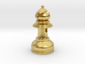 MILOSAURUS Jewelry Staunton Chess Bishop Pendant in Polished Brass