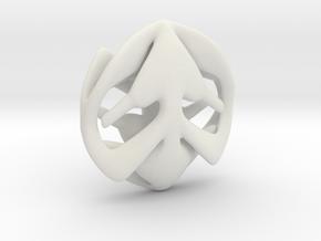 Hearts Pendant in White Natural Versatile Plastic