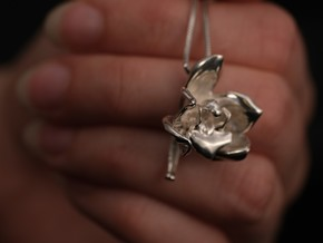 Cymbidium Orchid Pendant in Fine Detail Polished Silver