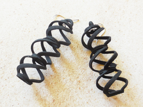 Swirl  - Earrings in Nylon Plastic in Black Natural Versatile Plastic