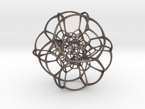 Inverted Truncated Octahedral Lattice in Polished Bronzed Silver Steel