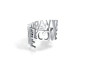 """Metal ringpoem """"Very warm welcome to Nifis home"""" in Polished Gold Steel"""