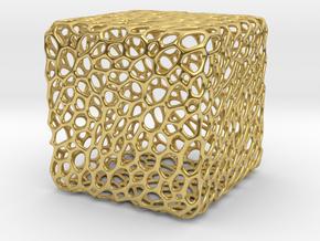Cube Voronoi Free 3d Print Model by KTkaRAJ in Polished Brass: Medium