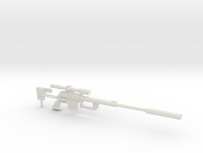 1:12 Miniature Cheytac M 200 Sniper rifle in White Natural Versatile Plastic: 1:12