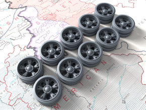 1/30 Russian T-55 Wheels x10 in Smooth Fine Detail Plastic