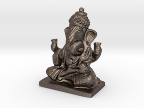 Lord Ganesha Statue in Polished Bronzed-Silver Steel